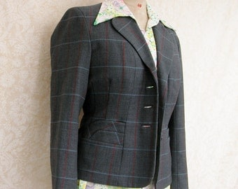 "Stylish 1960s blazer / jacket subtle plaid slate gray tweed ""Peter Robinson"" perfect vintage condition"