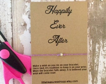 Happily Ever After Favors, Wish Bracelet Wedding Favors, Ever After Wedding Favors, Bridal Shower Wish Bracelet, Bracelet Wedding Favors