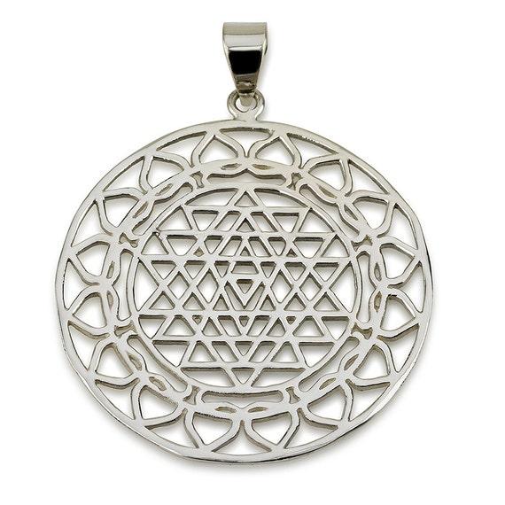 classic sri yantra pendant sterling silver 925 by