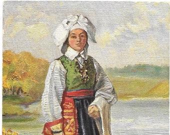 Nordiska Museet Swedish Traditional Costume, Stockholm, Sweden  c.1920 Unused Postcard