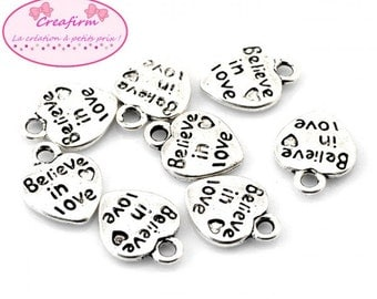 """50 charms hearts """"Believe in Love"""""""