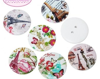 50 buttons round Monuments 3cm