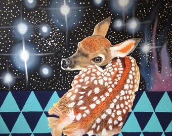Native American made Original baby Fawn stardust arcylic painting