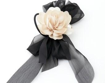 Black Chiffon Bow Flower Hair Elastics Ponytail Holder Free Shipping Women Hair Accessory