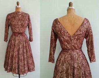 Vintage 1950s Marsala Lace Dress | Size Small