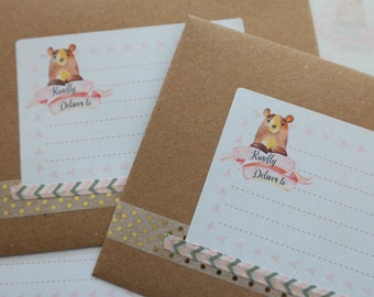 Mailing labels - Woodland Bear