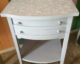 Louis Blue Stenciled Side Table