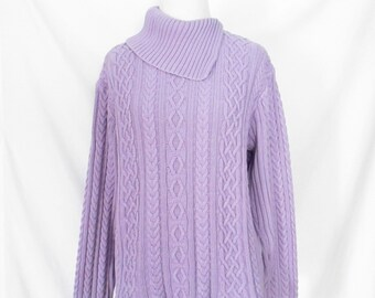 Vintage Lilac Cable Knit Sweater 90's Asymmetrical Collar Sweater Fold Down Collar Shirt Light Purple Sweater