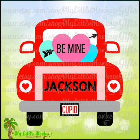 Vintage Truck Back Valentine's Day Design Digital Clipart