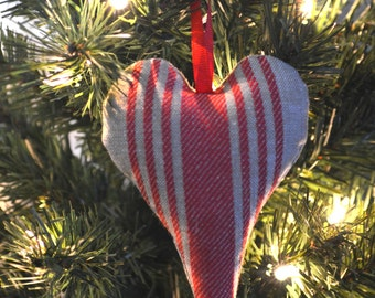 Vintage Inspired Striped Heart