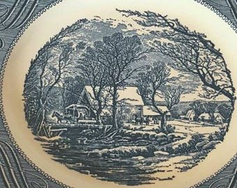 Currier and Ives Old Grist Mill Set of 5 Dinner Plates, Royal, 1960's Kitchen, Blue and White China Dinner Plate Set of 5