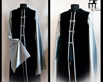 Wizard male Robe/tunic/elf/high elf/warhammer fantasy/Lord of the rings/black velvet tunic/elegant fantasy robe