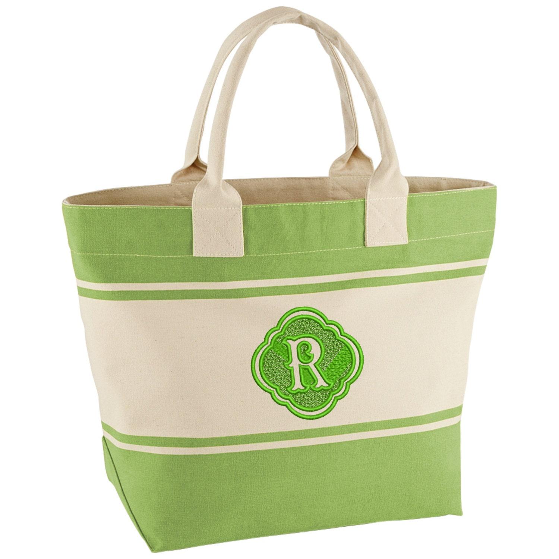 monogrammed canvas tote bags personalised bag