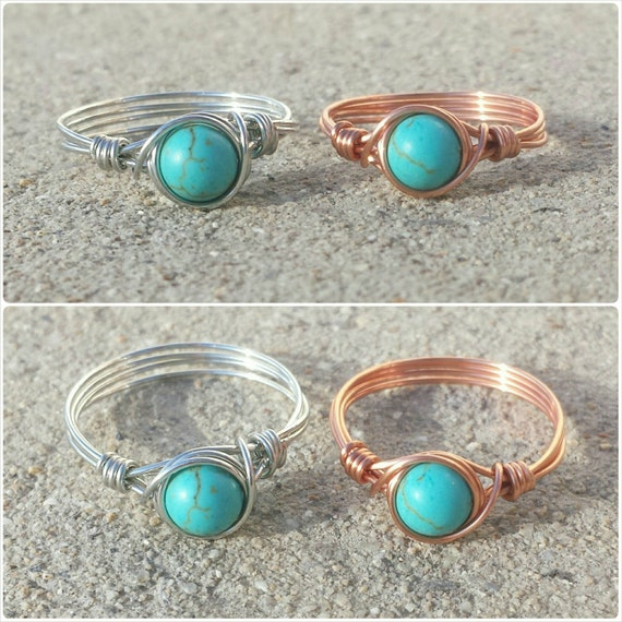 turquoise ring wire wrapped gemstone by wildcrystalgarden