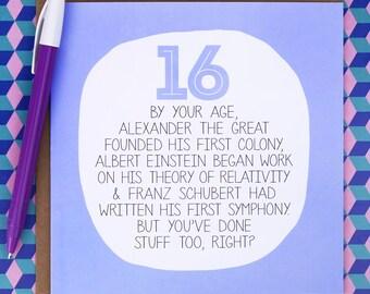 16th Birthday Card - funny birthday card - funny 16th birthday card - funny 16th card