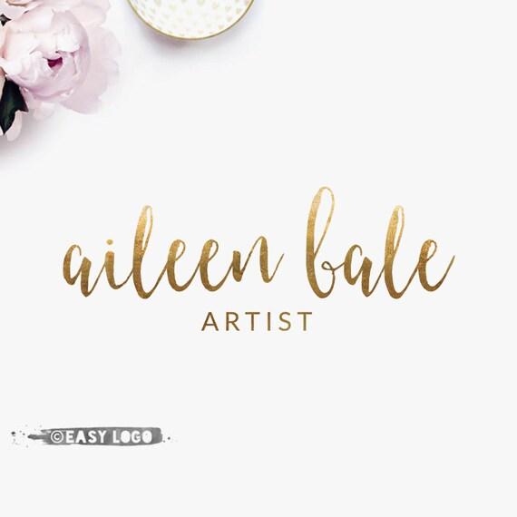 Simple gold calligraphy logo design watercolor brush font