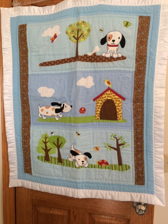 Flannel Puppy Dog Quilt Baby Quilt Crib Blanket by LiddieBoutique