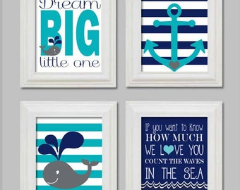 11x14 - Nautical Nursery Art Prints - Little boy nursery - Anchor and whale - Count the waves in the sea - Dream Big Little One - Printable