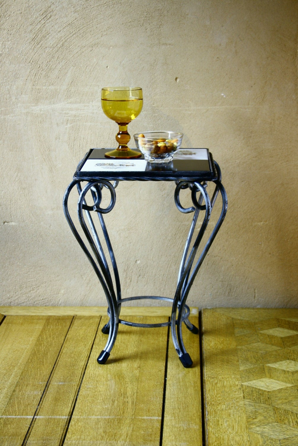 Retro end table 50s wrought iron side table mid century side for Wrought iron side table