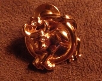Gold Plated Astrological Sign Taurus Pin Brooch