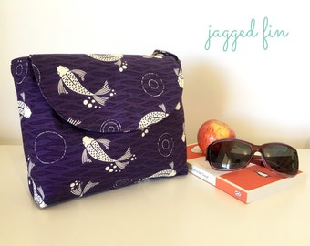 PURPLE small shoulder bag - purple cross body bag - fish fabric shoulder bag - messenger bag - purple purse with long strap