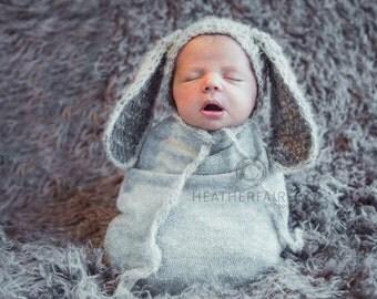 Newborn mohair Bunny bonnet, newborn mohair bunny hat, mohair easter bonnet, newborn photo prop, newborn easter bonet photography prop