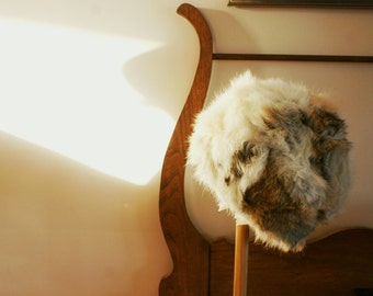 """Vintage Rabbit Fur Pill Box Winter Millinery Hat White Brown and Grey 20"""""""