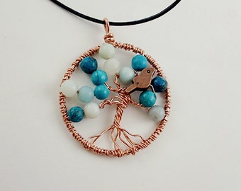 Tree of Life Necklace, Copper and Amazonite