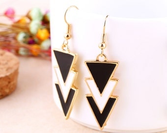 Geometric Triangle Earrings, Arrow Earrings, Enamel Earrings, Black Enamel Earrings, White Enamel Earrings, Long Earrings, Drop Earrings