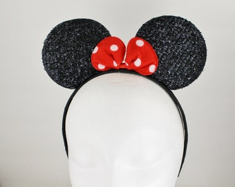 Minnie Mouse ears headband hair band Black Red polka dot sparkly glittery hair band disneyland ears costume disney world