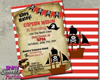 PIRATE PARTY INVITATION - Pirate Birthday Invitation - Pirate Birthday Party Invitation - Pirate Invite - Pirate Invitations - boy pirate