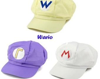 Wario, Waluigi, Fire Mario Embroidered Nintendo Cosplay Newsboy Hat - 3Colors