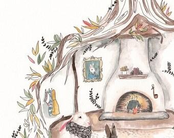 Bunny art, bunny nursery art, nursery art, woodland bunny print, woodland nursery art