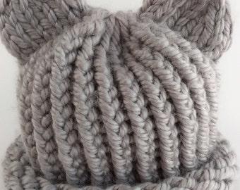 Loom Knit Baby Bear Hat (newborn)