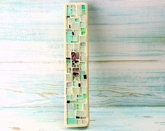 Floral Mezuzah, Jewish Housewarming Gift, Wedding Judaica Gift, Modern Jewish Gift, Light Turquoise, Modern Mezuzah case fits a 6'' Scroll