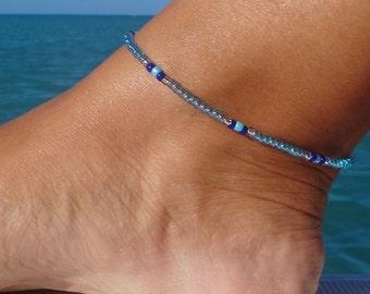 Anklet, ankle bracelet, Blue Anklet, Minimalist  Ankle bracelet, Beach Anklet, Beadwork Jewellery,