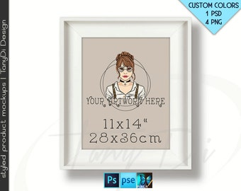 11x14 #W04 Wide White Portrait & Landscape Unmatted Frames on White bg, 4 Print Display Mockups, PNG PSD PSE, Opening 28x36cm, Custom colors