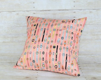 orange pillow cover with watch print