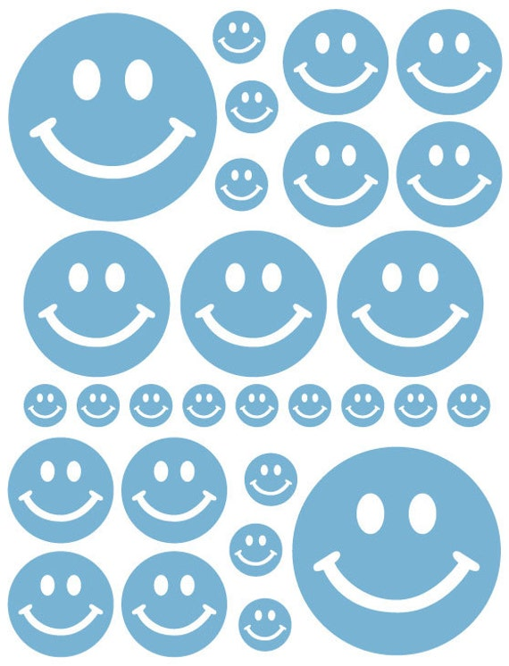 56 Powder Blue Smiley Face Vinyl Polka Dots Bedroom Wall Decals Stickers Teen Baby Nursery Dorm Room Removable Custom Made Easy to Install