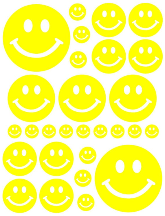 56 Yellow Smiley Face Vinyl Polka Dots Bedroom Wall Decals Stickers Teen Kids Baby Nursery Dorm Room Removable Custom Made Easy to Install