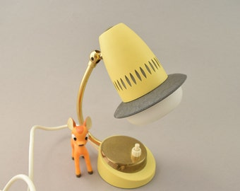 vintage bedside lamp table side lamp yellow from the 60s