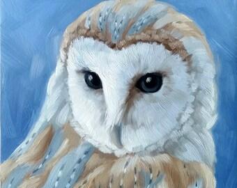 Owl print - barn owl - owl painting - bird painting - fine art print - bird painting