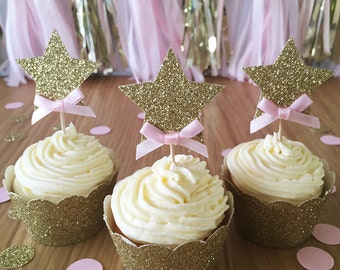 Pink and Gold Glitter Star Cupcake Toppers