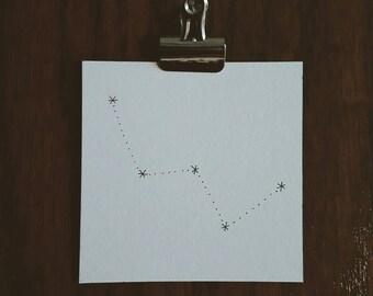 Cassiopeia Constellation. Permanent Ink Illustration.