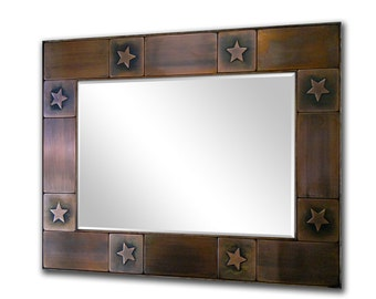 Decorative mirror frame, Rustic mirror, Copper mirror frame. Mirror for lobby, Metal accent frame. Stars design.