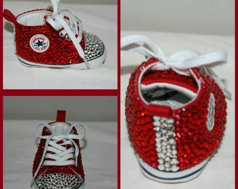Infant Embellished Converse Crib Shoes  (Red)