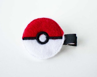 SALE Pokemon Pokeball felt embroidered hair clip