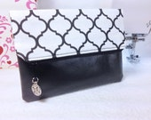 Foldover Clutch, Vegan Leather, White and Black Quatrefoil, Zippered Top, Tree of Life Charm for Zipper Pull, Lined in Black