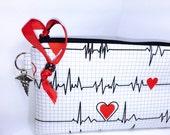 EMT Waterproof Pouch, EKG Pulse, Nurse Utility Pouch, Makeup Bag, Wet Bag, Larger Cosmetic Pouch, Pencil Case, Project Bag PUL