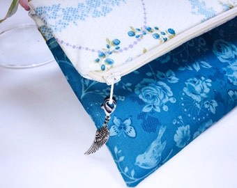 Ultra Feminine Foldover Clutch, Pastel Blue, Songbirds and Roses, Free Angel Wing Charm